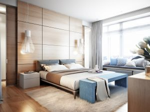 Bright and cozy modern bedroom with dressing room, large window and broad window sill for read with soft seats and cushions. 3d render